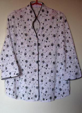 Блуза стрейч кружево в пайетках большой размер