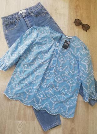 Натуральная голубая блузка прошва свободного кроя, батистовая блуза, блуза с вышивкой
