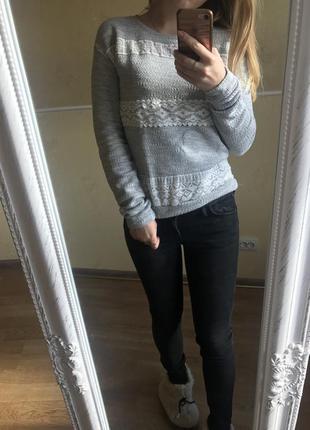 Стильный серый свитер , кофта , джемпер