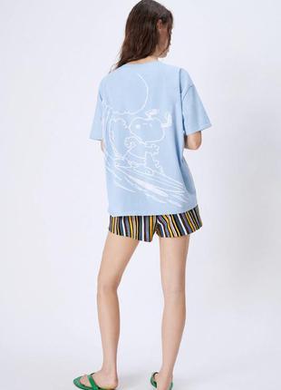 Оверсайз футболка рисунок спереди и на спине размер c и м zara оригинал свежая коллекция