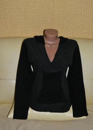 Кофта женская темно-серая с черными рукавами и капюшоном р. 44-46