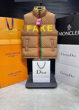 Мужская брендовая жилетка gucci коричневого цвета fake hot