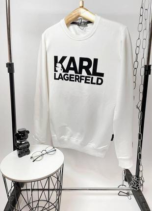 Брендовый мужской белый свитшот karl lagerfeld