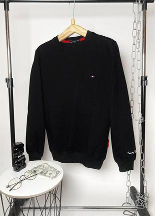 Брендовый мужской черный свитшот tommy hilfiger
