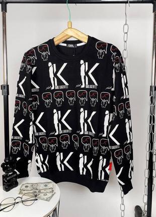 Брендовый мужской черный свитшот karl