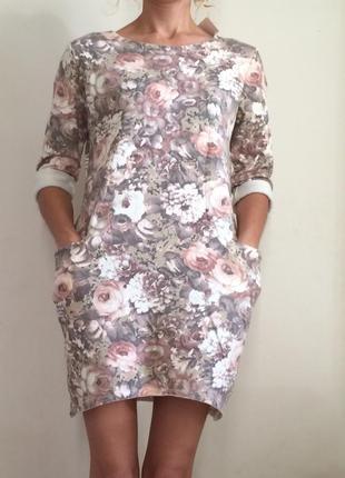 Красивое осеннее платье в цветы