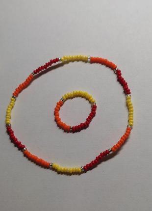 Набор из чешского бисера кольцо и браслет