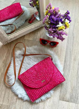 Новая розовая плетёная сумочка через плечо 😻
