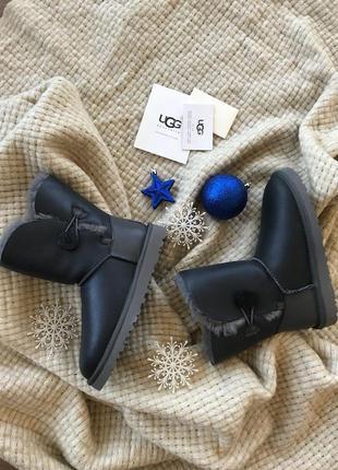 Ugg bailey button leather grey. угги натуральные, серые. оригинал