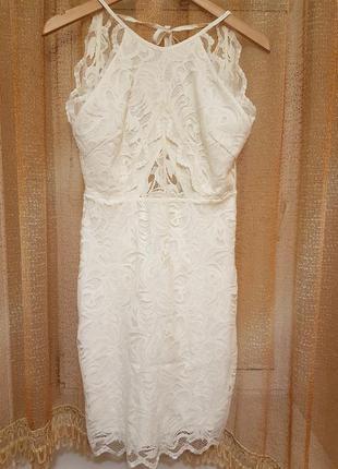 Нежное кружевное гипюровое платье с открытой спинкой h&m.