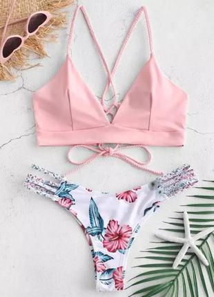 Самая популярная модель купальника купальник пудра с цветами на шнуровке, на завязках с плетением xs s m l
