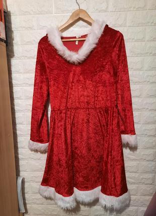 Платье снегурочки, платье помощница санты, платье с капюшоном