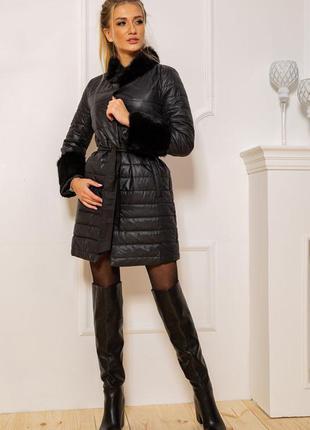 Шикарне пальто вишукана куртка з мехом пояс - xs-s