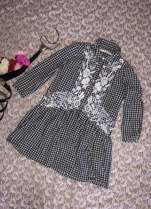 Ярусное платье-рубашка с вышивкой zara, s.