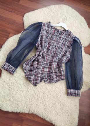Твідова блуза із об'ємним рукавом - zara