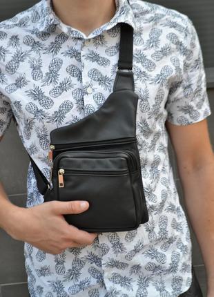 Кожаная сумка через плечо слинг барсетка мессенджер натуральная кожа