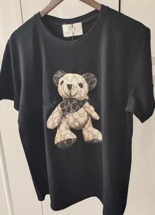 Трендовая футболка с мишкой в стилем gucci