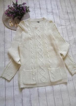 Теплый удлиненный молочный свитер туника