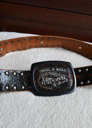 Soul & roll the kaporal стильный кожаный ремень. винтаж.