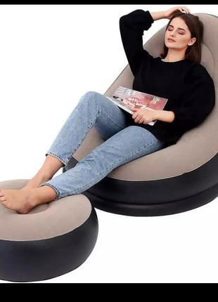Надувной диван с пуфиком air sofa