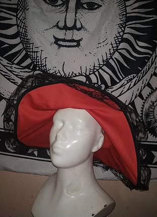 Шляпа карнавальная широкополая с кружевом