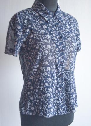 Синяя легкая блуза, рубашка в цветы