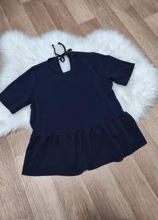 Женская стрейчевая блуза блузка кофточка с оборкой баской