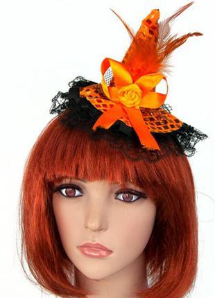 Шляпка с кружевом и пайетками ведьмочка хэллоиун оранжевая +подарок
