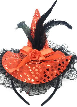 Маленькая шляпка на ободке маскарадная ведьмочка хэллоуин красная +подарок