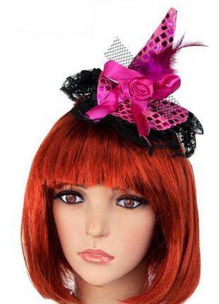 Маленькая розовая шляпка волшебницы на ободке +подарок