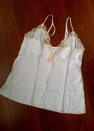 38р. шёлковая белая майка для сна