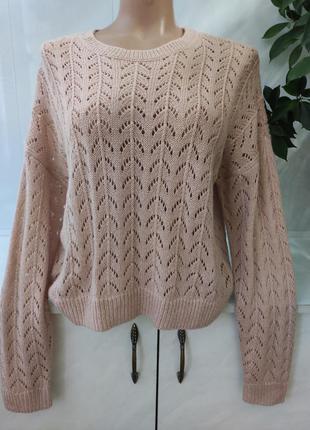 Оригинальный ажурный свитер оверсайз h&m