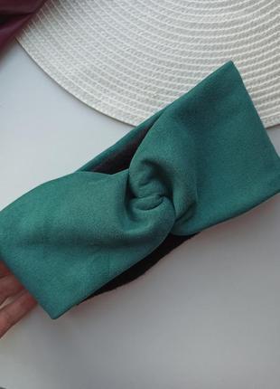 Замшева повязка на голову з екозамші тепла на флісі