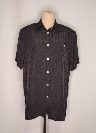 Рубашка шёлковая винтажная черная с принтом