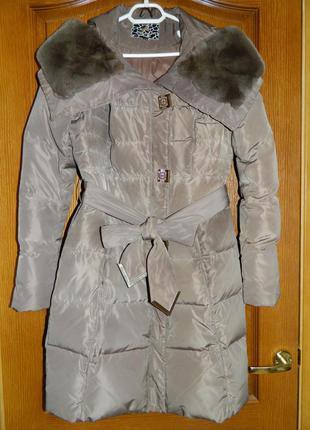 Красивое зимнее пальто-пуховик angel bestow р.44 (евро 38, м)