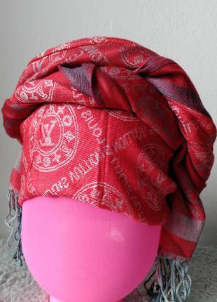 Женский  красный платок/тюрбан/ палантин большого размера