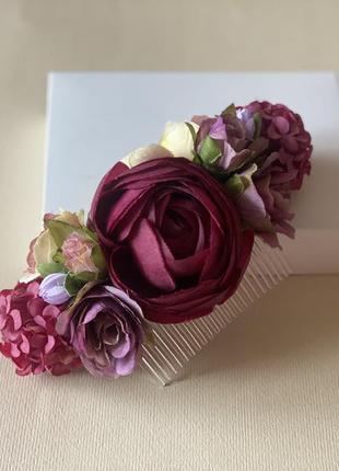 Гребешок с цветами,свадебний гребень в прическу