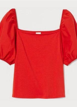 Блуза квадратный вырез объёмные рукава