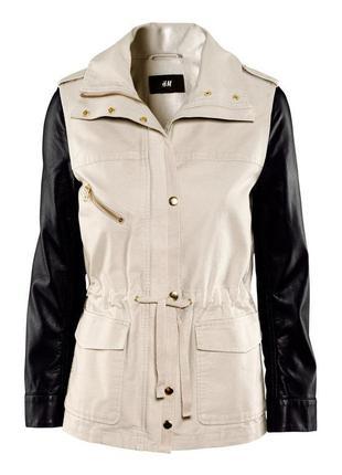 Стильная парка h&m, размер s/m (38), куртка c кожаными рукавами hm