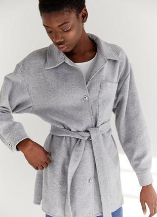Сіра куртка-сорочка з поясом / куртка-рубашка с поясом / безкоштовна доставка