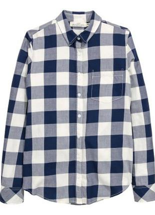 Хлопковая рубашка h&m в клетку скидки