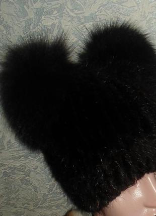 "Шапка -кошка "" ушки-кисточки"" ,натур мех ,ондатра , на вязаной основе2"