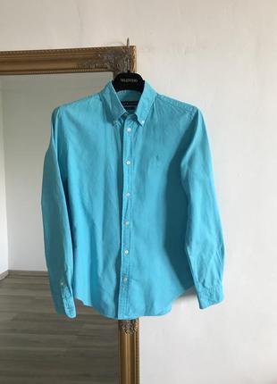 Яркая голубая рубашка ralph lauren хлопок u11