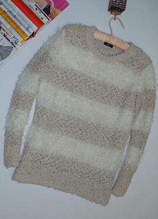 Стильный теплый свитер, в широкую полоску
