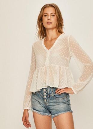 Блуза молочная прозрачная кофта tally waijl