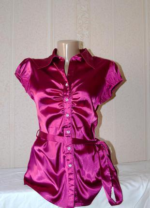 Яркая нарядная легкая тонкая атласная рубашка блуза фуксия lipsy s