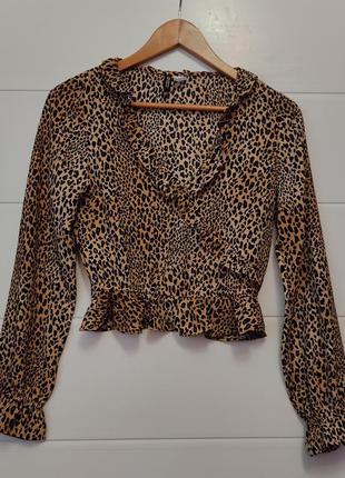 Леопардовая новая блузка топ с рюшами