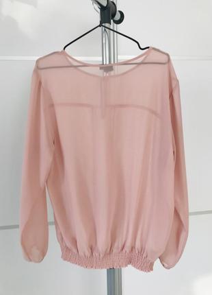 Блуза, пудровая блуза, светло розовая блуза, полупрозрачная блузка.