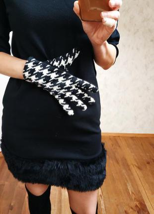 Теплые перчатки в гусиную лапку.