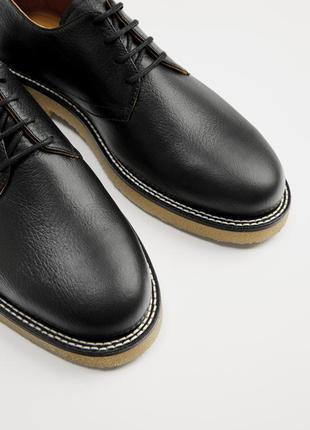 Кожаные туфли на каучуковой подошве zara.